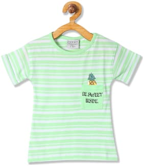 CHEROKEE Girl Cotton Striped T shirt - Green