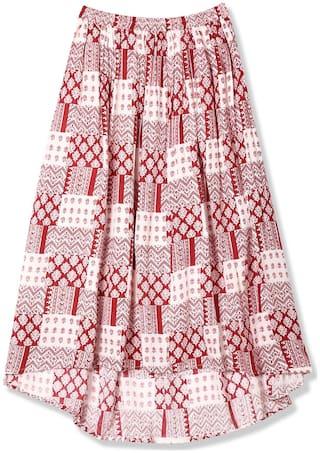 CHEROKEE Girl Rayon Printed A- line skirt - Maroon & White