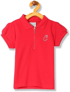 CHEROKEE Girl Cotton Solid T shirt - Red