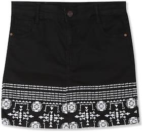 CHEROKEE Girl Cotton Embroidered Straight skirt - Black