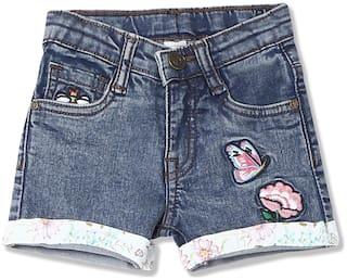 CHEROKEE Girl Cotton blend Applique Denim shorts - Blue