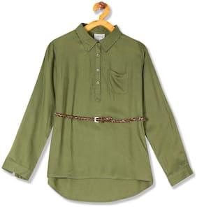 CHEROKEE Girl Viscose Solid Top - Green