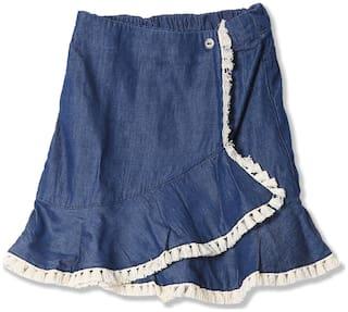 CHEROKEE Girl Cotton Solid Wrap skirt - Blue
