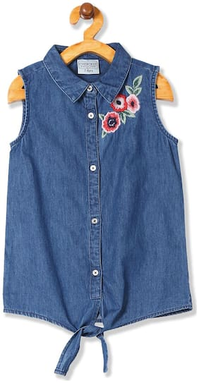 CHEROKEE Girl Cotton Embellished Top - Blue