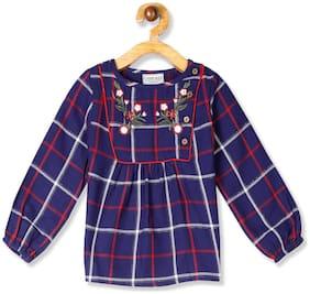 CHEROKEE Girl Cotton Checked Top - Blue