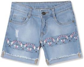 CHEROKEE Girl Cotton blend Printed Denim shorts - Blue