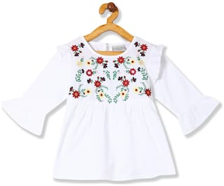 CHEROKEE Girl Cotton Embellished Top - White