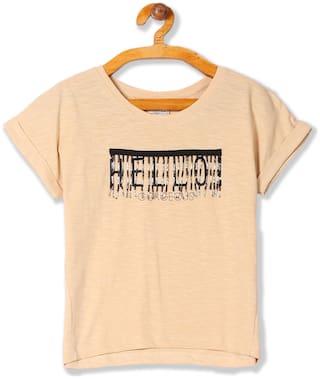 CHEROKEE Girl Cotton Embellished T shirt - Beige