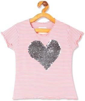 CHEROKEE Girl Cotton Striped T shirt - Pink