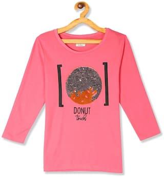 CHEROKEE Girl Cotton Embellished T shirt - Pink