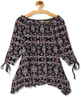 CHEROKEE Girl Rayon Printed Top - Black