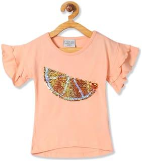 CHEROKEE Girl Cotton Embellished Top - Orange