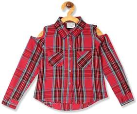CHEROKEE Girl Rayon Checked Shirt - Red