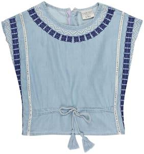CHEROKEE Girl Cotton Self design Top - Blue