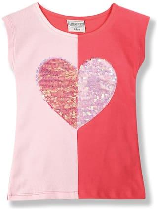 CHEROKEE Girl Cotton Embellished Top - Pink
