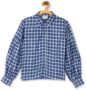 CHEROKEE Girl Rayon Checked Shirt - Blue