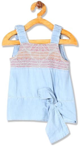CHEROKEE Girl Cotton Solid Top - Blue
