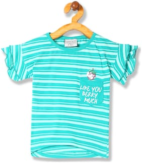 CHEROKEE Girl Cotton Striped Top - Green