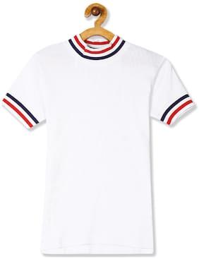 CHEROKEE Girl Cotton Solid T shirt - White