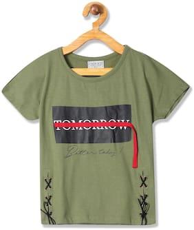 CHEROKEE Girl Cotton Printed Top - Green