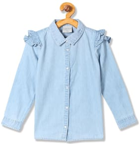CHEROKEE Girl Cotton Solid Shirt - Blue