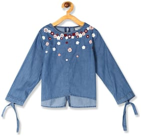 CHEROKEE Girl Cotton Self design Top - Blue
