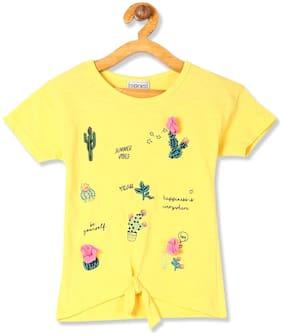 CHEROKEE Girl Cotton Self design Top - Yellow