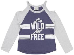 CHEROKEE Girl Cotton Printed T shirt - Blue & Grey