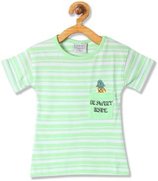 CHEROKEE Girl Cotton Striped T shirt - Green