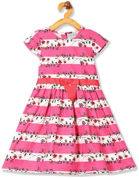 CHEROKEE Pink Cotton Short Sleeves Knee Length Princess Frock ( Pack of 1 )