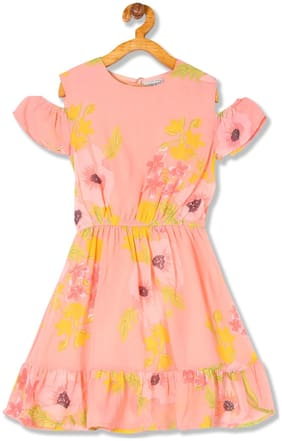 CHEROKEE Pink Polyester Short Sleeves Knee Length Princess Frock ( Pack of 1 )