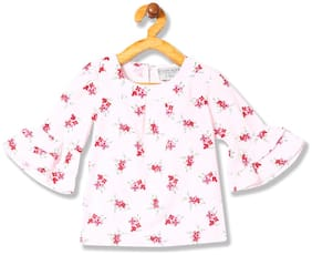 CHEROKEE Polyester Printed Top for Baby Girl - Pink