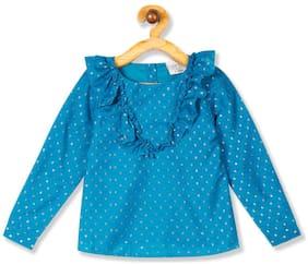 CHEROKEE Polyester Self design Top for Baby Girl - Blue