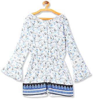 CHEROKEE Rayon Printed Romper For Girl - White