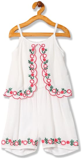 CHEROKEE Rayon Embellished Romper For Girl - White