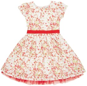 CHEROKEE Red Cotton Short Sleeves Knee Length Princess Frock ( Pack of 1 )