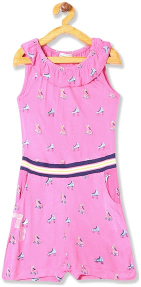 CHEROKEE Viscose Printed Dungaree For Girl - Pink