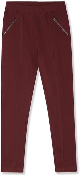 CHEROKEE Viscose Solid Leggings - Red
