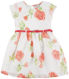 CHEROKEE White Cotton Short Sleeves Knee Length Princess Frock ( Pack of 1 )