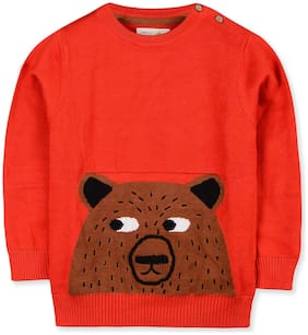 Cherry Crumble By Nitt Hyman Boy Poly cotton Printed Sweater - Red