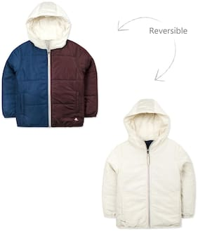 Cherry Crumble By Nitt Hyman Boy Polyester Colorblocked Winter jacket - Blue & Brown