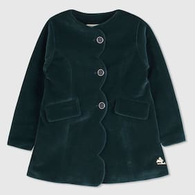 Cherry Crumble Girl Cotton Blend Solid Winter Jacket - Green