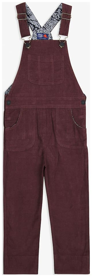 Cherry Crumble By Nitt Hyman Cotton blend Solid Dungaree For Girl - Maroon