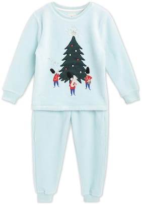 Cherry Crumble By Nitt Hyman Holiday Applique Winter Nightsuit with Eye Mask Blue