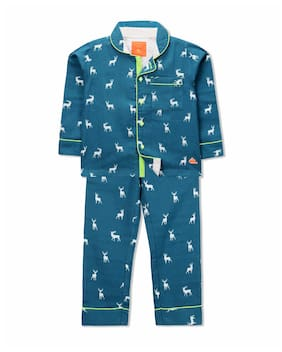 Cherry Crumble By Nitt Hyman All-Over Deer Night Suit Blue