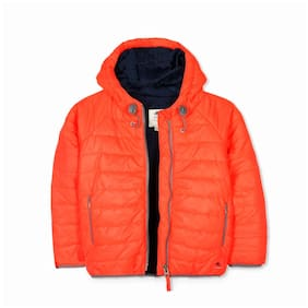 Cherry Crumble By Nitt Hyman Boy Polyester Solid Winter jacket - Orange