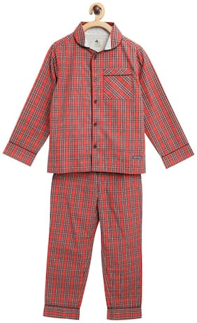 Cherry Crumble Iconic Check Nighsuit With Sleeping Mask (Red)
