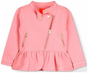 Cherry Crumble By Nitt Hyman Girl Polyester Solid Winter jacket - Pink