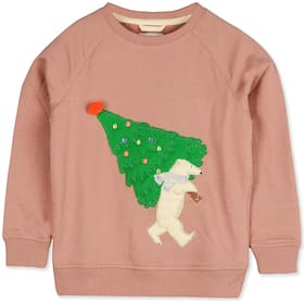 Cherry Crumble Boy Poly cotton Solid Sweatshirt - Pink