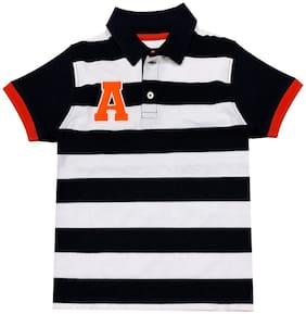 Cherry Crumble By Nitt Hyman Cotton blend Striped T shirt for Baby Boy - White & Black